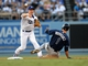 Aug 11, 2013; Los Angeles, CA, USA;   Tampa Bay Rays left fielder Sean Rodriguez (1) is out at second as Los Angeles Dodgers second baseman Mark Ellis (14) completes a double play in the fifth inning at Dodger Stadium. Mandatory Credit: Jayne Kamin-Oncea-USA TODAY Sports