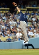 Aug 11, 2013; Los Angeles, CA, USA;    Tampa Bay Rays third baseman Evan Longoria (3) makes a leaping catch for an out in the eighth inning the game against the Los Angeles Dodgers at Dodger Stadium. Mandatory Credit: Jayne Kamin-Oncea-USA TODAY Sports