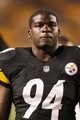Aug 10, 2013; Pittsburgh, PA, USA; Pittsburgh Steelers inside linebacker Lawrence Timmons (94) looks on from the sidelines against the New York Giants during the fourth quarter at Heinz Field. The New York Giants won 18-13. Mandatory Credit: Charles LeClaire-USA TODAY Sports