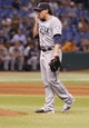 Aug 14, 2013; St. Petersburg, FL, USA; Seattle Mariners relief pitcher Danny Farquhar (40) reacts during the ninth inning against the Tampa Bay Rays at Tropicana Field. Tampa Bay Rays defeated the Seattle Mariners 5-4. Mandatory Credit: Kim Klement-USA TODAY Sports