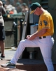 Aug 15, 2013; Oakland, CA, USA; Oakland Athletics manager Bob Melvin (6) makes adjustments to the lineup during the sixth inning of the game against the Houston Astros at O.Co Coliseum. The Oakland Athletics defeated the Houston Astros 5-0. Mandatory Credit: Ed Szczepanski-USA TODAY Sports