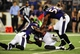 Aug 15, 2013; Baltimore, MD, USA; Baltimore Ravens linebacker Albert McClellan (50) forces Atlanta Falcons wide receiver Drew Davis (19) to fumble the ball in the second quarter at M&T Bank Stadium. Mandatory Credit: Evan Habeeb-USA TODAY Sports