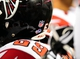 Aug 15, 2013; Baltimore, MD, USA; A view of the Heads Up Football logo on the helmet of  Atlanta Falcons guard Harland Gunn during the game against the Baltimore Ravens at M&T Bank Stadium. Mandatory Credit: Evan Habeeb-USA TODAY Sports