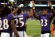 Aug 15, 2013; Baltimore, MD, USA; Baltimore Ravens cornerback Asa Jackson (25) high fives cornerback Chykie Brown (23) after scoring on a 78 yard punt return in the fourth quarter against the Atlanta Falcons at M&T Bank Stadium. Mandatory Credit: Evan Habeeb-USA TODAY Sports