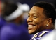 Aug 15, 2013; Baltimore, MD, USA; Baltimore Ravens running back Ray Rice (27) smiles at fans during the game against the Atlanta Falcons at M&T Bank Stadium. Mandatory Credit: Evan Habeeb-USA TODAY Sports