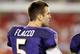 Aug 8, 2013; Tampa, FL, USA; Baltimore Ravens quarterback Joe Flacco (5) against the Tampa Bay Buccaneers during the second half at Raymond James Stadium. Mandatory Credit: Kim Klement-USA TODAY Sports