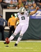 Aug 17, 2013; East Rutherford, NJ, USA; New York Jets kicker Nick Folk (2) kicks off against the Jacksonville Jaguars during the fourth quarter of a preseason game at MetLife Stadium. The Jets defeated the Jaguars 37-13. Mandatory Credit: Brad Penner-USA TODAY Sports