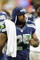 Aug 17, 2013; Seattle, WA, USA; Seattle Seahawks running back Marshawn Lynch (24) on the sidelines during the 2nd half against the Denver Broncos at CenturyLink Field. Seattle defeated Denver 40-10. Mandatory Credit: Steven Bisig-USA TODAY Sports