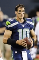Aug 17, 2013; Seattle, WA, USA; Seattle Seahawks quarterback Brady Quinn (10) on the sidelines during the 2nd half against the Denver Broncos at CenturyLink Field. Seattle defeated Denver 40-10. Mandatory Credit: Steven Bisig-USA TODAY Sports