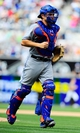 Aug 18, 2013; San Diego, CA, USA; New York Mets catcher Travis d'Arnaud (15) during the seventh inning against the San Diego Padres at Petco Park. Mandatory Credit: Christopher Hanewinckel-USA TODAY Sports