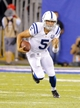 Aug 18, 2013; East Rutherford, NJ, USA; Indianapolis Colts quarterback Chandler Harnish (5) scrambles during the second half against the New York Giants at MetLife Stadium. Indianapolis Colts defeat the New York Giants 20-12. Mandatory Credit: Jim O'Connor-USA TODAY Sports