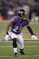 Aug 15, 2013; Baltimore, MD, USA; Baltimore Ravens cornerback Asa Jackson (25) defends during the game against the Atlanta Falcons at M&T Bank Stadium. Mandatory Credit: Mitch Stringer-USA TODAY Sports