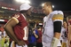 Aug 19, 2013; Landover, MD, USA; Washington Redskins quarterback Robert Griffin III (10) talks with Pittsburgh Steelers quarterback Landry Jones (3) after their game at FedEx Field. The Redskins won 24-13. Mandatory Credit: Geoff Burke-USA TODAY Sports
