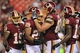 Aug 19, 2013; Landover, MD, USA; Washington Redskins running back Roy Helu (29) celebrates with tackle Tom Compton (68) after scoring a touchdown against the Pittsburgh Steelers in the fourth quarter at FedEx Field. The Redskins won 24-13. Mandatory Credit: Geoff Burke-USA TODAY Sports