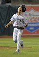 Aug 19, 2013; Oakland, CA, USA; Seattle Mariners left fielder Raul Ibanez (28) is unable to make the catch in foul territory during the eighth inning at O.Co Coliseum. The Oakland Athletics defeated the Seattle Mariners 2-1. Mandatory Credit: Ed Szczepanski-USA TODAY Sports