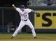 Aug 20, 2013; Kansas City, MO, USA; Kansas City Royals second baseman Chris Getz (17) fields a grounder in the third inning against the Chicago White Sox at Kauffman Stadium. Mandatory Credit: John Rieger-USA TODAY Sports