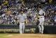 Aug 20, 2013; Kansas City, MO, USA; Chicago White Sox starting pitcher John Danks (50) talks to catcher Josh Phegley (36) in the sixth inning against the Kansas City Royals at Kauffman Stadium. Mandatory Credit: John Rieger-USA TODAY Sports