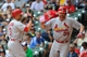 Aug 21, 2013; Milwaukee, WI, USA;  St. Louis Cardinals right fielder Carlos Beltran (left) celebrates with pitcher Jake Westbrook (right) after hitting a 2-run homer in the 2nd inning against the Milwaukee Brewers at Miller Park. Mandatory Credit: Benny Sieu-USA TODAY Sports