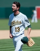 Aug 21, 2013; Oakland, CA, USA; Oakland Athletics relief pitcher Jerry Blevins (13) walks off the mound after being taken out of the game during the eighth inning at O.Co Coliseum. The Seattle Mariners defeated the Oakland Athletics 5-3. Mandatory Credit: Ed Szczepanski-USA TODAY Sports