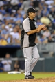 Aug 21, 2013; Kansas City, MO, USA; Chicago White Sox manager Robin Ventura (23) walks to the mound to relieve in the seventh inning of the game against the Kansas City Royals at Kauffman Stadium. Chicago won 5-2. Mandatory Credit: Denny Medley-USA TODAY Sports
