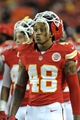 Aug 16, 2013; Kansas City, MO, USA; Kansas City Chiefs free safety Bradley McDougald (48) watches play on the sidelines during the second half of the game against the San Francisco 49ers at Arrowhead Stadium. San Francisco won 15-13. Mandatory Credit: Denny Medley-USA TODAY Sports