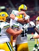 Aug 17, 2013; St. Louis, MO, USA; Green Bay Packers quarterback B.J. Coleman (9) congratulates Packers tight end Jake Stoneburner (45) on his touchdown reception against the St. Louis Rams during the second half at the Edward Jones Dome. Mandatory Credit: Scott Rovak-USA TODAY Sports