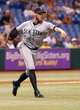 Aug 14, 2013; St. Petersburg, FL, USA; Seattle Mariners relief pitcher Charlie Furbush (41) throws the ball to first for an out against the Tampa Bay Rays at Tropicana Field. Tampa Bay Rays defeated the Seattle Mariners 5-4. Mandatory Credit: Kim Klement-USA TODAY Sports