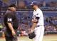 Aug 14, 2013; St. Petersburg, FL, USA; Tampa Bay Rays starting pitcher David Price (14) talks with umpire Wally Bell (35) against the Seattle Mariners during the fifth inning at Tropicana Field. Mandatory Credit: Kim Klement-USA TODAY Sports