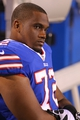 Aug 16, 2013; Orchard Park, NY, USA;  Buffalo Bills tackle Zebrie Sanders (72) on the bench during the second half against the Minnesota Vikings at Ralph Wilson Stadium.  Buffalo defeats Minnesota 20 to 16.  Mandatory Credit: Timothy T. Ludwig-USA TODAY Sports