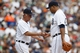 Aug 22, 2013; Detroit, MI, USA; Detroit Tigers manager Jim Leyland (10) takes the ball to relieve relief pitcher Bruce Rondon (43) in the eighth inning against the Minnesota Twins at Comerica Park. Mandatory Credit: Rick Osentoski-USA TODAY Sports