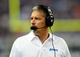 Aug 22, 2013; Detroit, MI, USA; Detroit Lions head coach Jim Schwartz on the sidelines in the third quarter of a preseason game against the New England Patriots at Ford Field. Mandatory Credit: Andrew Weber-USA TODAY Sports