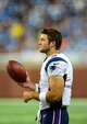 Aug 22, 2013; Detroit, MI, USA; New England Patriots quarterback Tim Tebow (5) on the sidelines in the fourth quarter of a preseason game against the Detroit Lions at Ford Field. Mandatory Credit: Andrew Weber-USA TODAY Sports