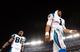 Aug 22, 2013; Baltimore, MD, USA; Carolina Panthers quarterback Cam Newton (1) walks off the field after beating the Baltimore Ravens 34-27 at M&T Bank Stadium. Mandatory Credit: Evan Habeeb-USA TODAY Sports