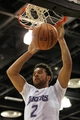 Jul 15, 2013; Las Vegas, NV, USA; Los Angeles Lakers forward Elias Harris dunks the ball during an NBA Summer League game against the Los Angeles Clippers at Cox Pavillion. Mandatory Credit: Stephen R. Sylvanie-USA TODAY Sports