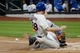 Aug 23, 2013; New York, NY, USA;  New York Mets second baseman Daniel Murphy (28) slides safe as Detroit Tigers catcher Victor Martinez (41) waits for the ball during the first inning at Citi Field.  Mandatory Credit: Anthony Gruppuso-USA TODAY Sports