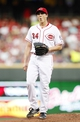 Aug 23, 2013; Cincinnati, OH, USA; Cincinnati Reds starting pitcher Homer Bailey (34) reacts to a pitch call during the second inning against the Milwaukee Brewers at Great American Ball Park. Mandatory Credit: Frank Victores-USA TODAY Sports
