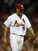 Aug 23, 2013; St. Louis, MO, USA; St. Louis Cardinals starting pitcher Adam Wainwright (50) celebrates after throwing a complete game against the Atlanta Braves at Busch Stadium. St. Louis defeated Atlanta 3-1. Mandatory Credit: Jeff Curry-USA TODAY Sports