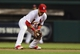 Aug 23, 2013; St. Louis, MO, USA; St. Louis Cardinals second baseman Kolten Wong (16) fields a ground ball hit by Atlanta Braves starting pitcher Kris Medlen (not pictured) during the third inning at Busch Stadium. St. Louis defeated Atlanta 3-1. Mandatory Credit: Jeff Curry-USA TODAY Sports