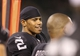 Aug 23, 2013; Oakland, CA, USA; Oakland Raiders quarterback Terrelle Pryor (6) on the sideline during the fourth quarter against the Chicago Bears at O.co Coliseum. The Chicago Bears defeated the Oakland Raiders 34-26. Mandatory Credit: Kelley L Cox-USA TODAY Sports