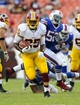 Aug 24, 2013; Landover, MD, USA; Washington Redskins running back Keiland Williams (25) runs the ball during the second half against the Buffalo Bills at FedEX Field. Mandatory Credit: Brad Mills-USA TODAY Sports