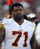 Aug 24, 2013; Landover, MD, USA; Washington Redskins offensive tackle Trent Williams (71) on the sidelines during the second half against the Buffalo Bills at FedEX Field. Mandatory Credit: Brad Mills-USA TODAY Sports