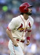 Aug 24, 2013; St. Louis, MO, USA; St. Louis Cardinals third baseman Matt Carpenter (13) watches his solo home run off of Atlanta Braves starting pitcher Julio Teheran (not pictured) during the first inning at Busch Stadium. Mandatory Credit: Jeff Curry-USA TODAY Sports
