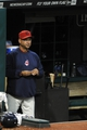 Aug 24, 2013; Cleveland, OH, USA; Cleveland Indians manager Terry Francona (17) stands in the dugout in the fourth inning against the Minnesota Twins at Progressive Field. Mandatory Credit: David Richard-USA TODAY Sports