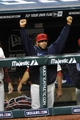 Aug 24, 2013; Cleveland, OH, USA; Cleveland Indians shortstop Mike Aviles (4) celebrates in the fifth inning against the Minnesota Twins at Progressive Field. Mandatory Credit: David Richard-USA TODAY Sports