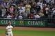 Aug 24, 2013; Cleveland, OH, USA; Cleveland Indians first baseman Nick Swisher (33) celebrates a 7-2 win over the Minnesota Twins at Progressive Field. Mandatory Credit: David Richard-USA TODAY Sports
