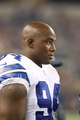 Aug 24, 2013; Arlington, TX, USA; Dallas Cowboys defensive end DeMarcus Ware (94) on the sidelines in the third quarter against the Cincinnati Bengals at AT&T Stadium. Mandatory Credit: Matthew Emmons-USA TODAY Sports