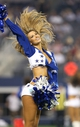 Aug 24, 2013; Arlington, TX, USA; Dallas Cowboys cheerleader Katie Marie performs during a timeout from the game against the Cincinnati Bengals at AT&T Stadium. The Cowboys beat the Bengals 24-18. Mandatory Credit: Matthew Emmons-USA TODAY Sports