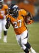 Aug 24, 2013; Denver, CO, USA; Denver Broncos running back Knowshon Moreno (27) runs the ball during the second half against the St. Louis Rams at Sports Authority Field at Mile High. The Broncos won 27-26.  Mandatory Credit: Chris Humphreys-USA TODAY Sports