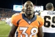 Aug 24, 2013; Denver, CO, USA; Denver Broncos running back Montee Ball (38) following the game against the St. Louis Rams at Sports Authority Field .The Broncos defeated the Rams 27-26. Mandatory Credit: Ron Chenoy-USA TODAY Sports