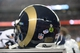 Aug 24, 2013; Denver, CO, USA; General view of a St. Louis Rams helmet with the heads up logo during the preseason game against the Denver Broncos at Sports Authority Field .The Broncos defeated the Rams 27-26. Mandatory Credit: Ron Chenoy-USA TODAY Sports